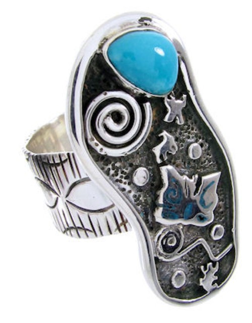 Turquoise Butterfly Southwestern Silver Ring Size 7 MW66890