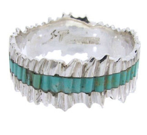 Turquoise Southwest Jewelry Sterling Silver Band Ring Size 5 MW66802