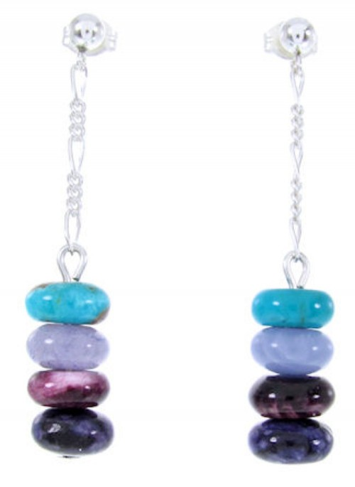 Navajo Sterling Silver Multicolor Bead Post Dangle Earrings AW66839