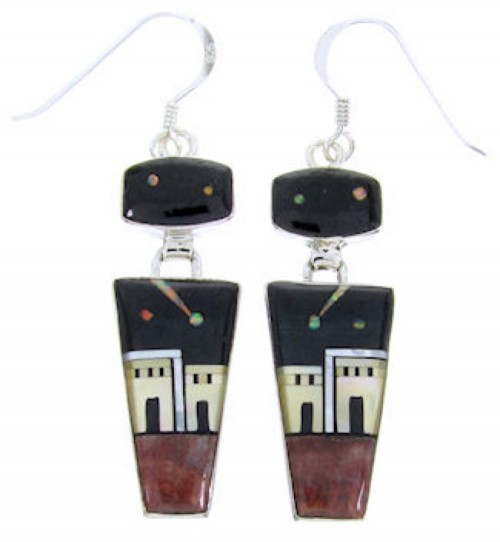 Sterling Silver Multicolor Native American Design Earrings YS67100