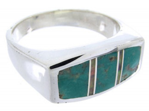 Southwestern Turquoise Opal Sterling Silver Ring Size 6-3/4 IS68075