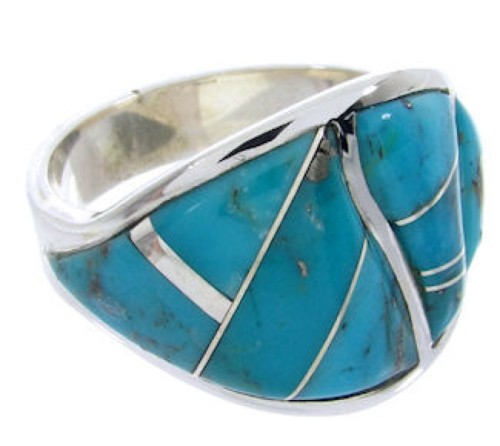 Silver Turquoise Southwest Inlay Jewelry Ring Size 4-3/4 YS68786