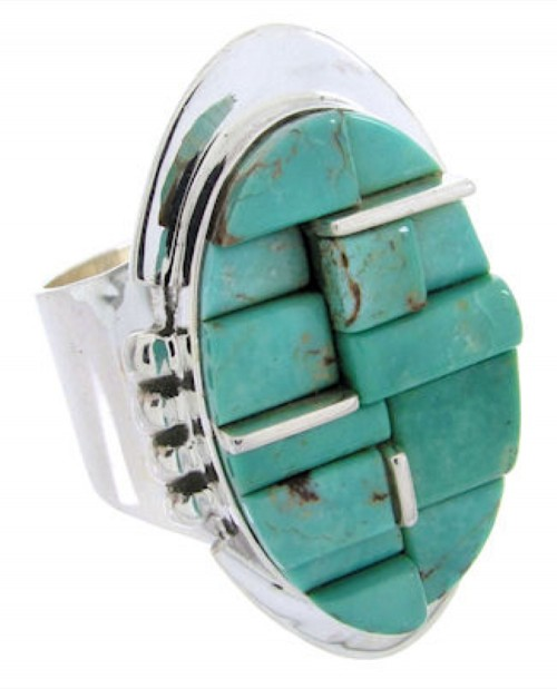 Turquoise Inlay Jewelry And Sterling Silver Ring Size 6-1/4 YS68840