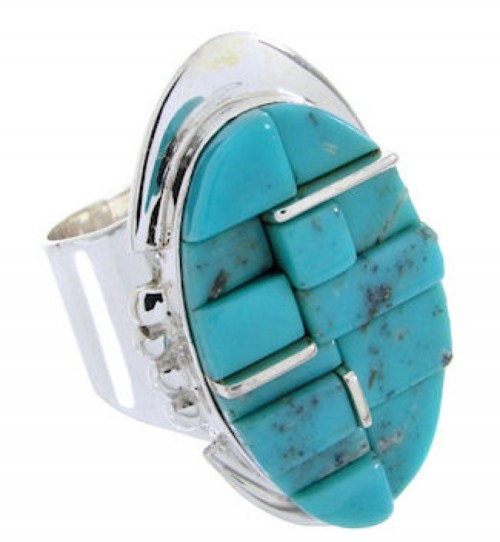 Turquoise Inlay Sterling Silver Jewelry Ring Size 8-1/2 FX93602