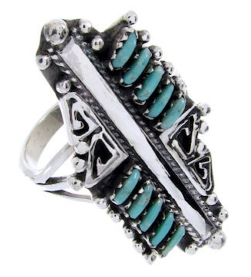Southwest Jewelry Needlepoint Turquoise Silver Ring Size 5-1/4 BW67947