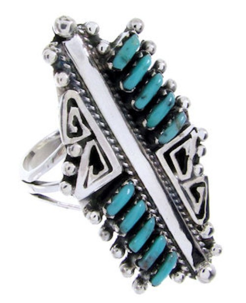 Turquoise Needlepoint Silver Jewelry Southwest Ring Size 4-3/4 BW68023