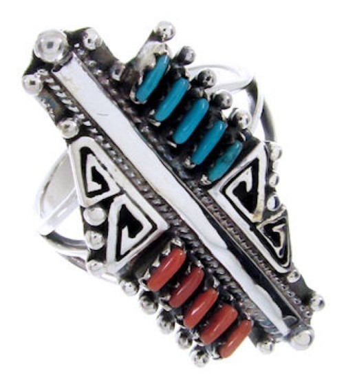 Turquoise And Coral Needlepoint Southwestern Ring Size 8 BW68036