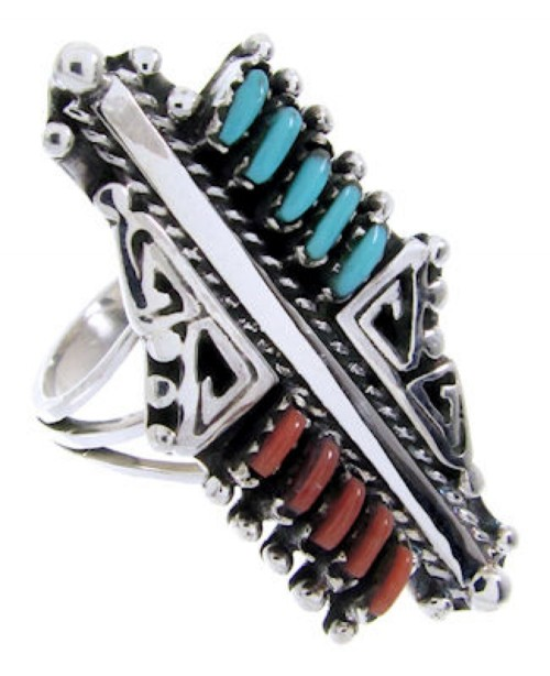 Silver Turquoise Coral Southwest Needlepoint Ring Size 6-3/4 BW68059