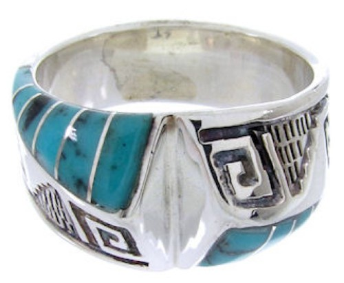 Silver Southwestern Turquoise Jewelry Ring Size 5-1/2 BW68353