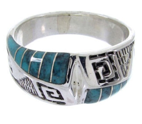 Southwestern Sterling Silver Turquoise Inlay Ring Size 6-1/4 BW68402