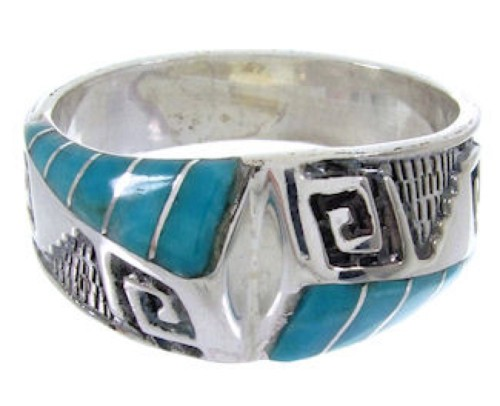 Southwestern Sterling Silver Turquoise Inlay Ring Size 8-3/4 BW68444