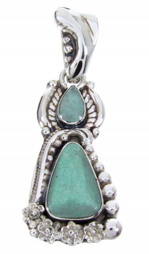 Southwestern Jewelry Turquoise And Silver Slide Pendant AW67706