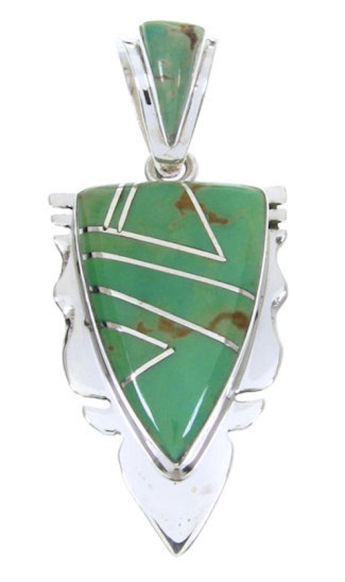 Southwest Turquoise Inlay Silver Pendant MW67762