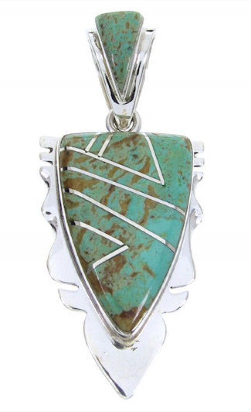 Turquoise Southwestern Silver Pendant MW67775