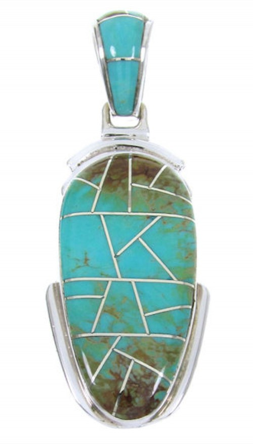 Turquoise Inlay Southwest Sterling Silver Pendant MW67711