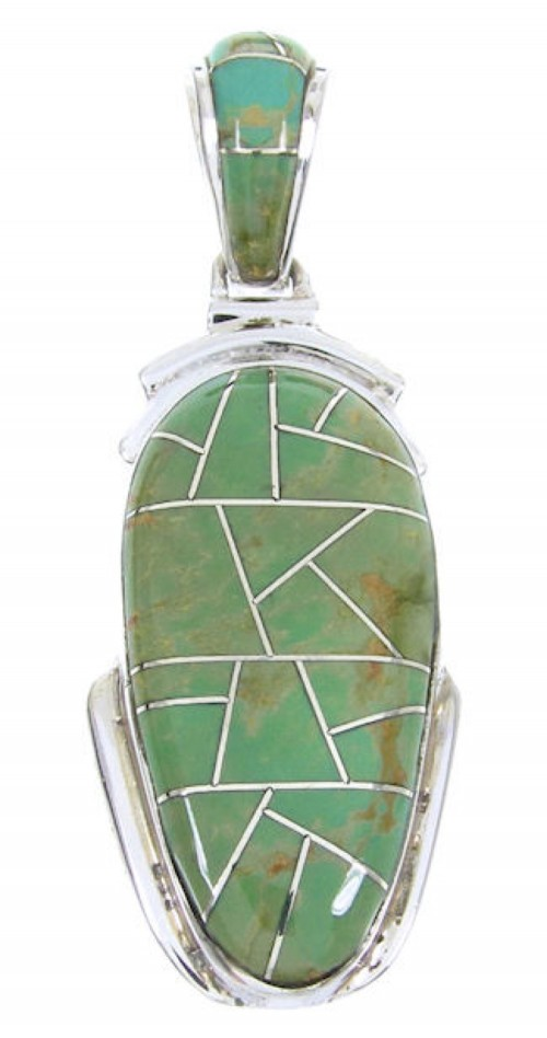 Turquoise Inlay Sterling Silver Southwest Pendant MW67731