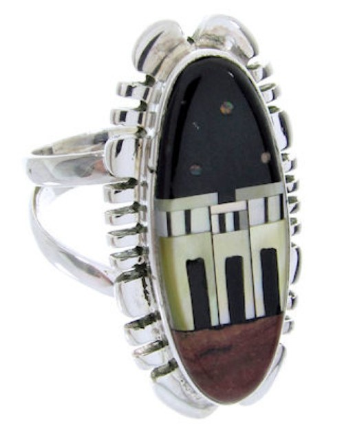 Native American Design Multicolor Jewelry Ring Size 7-1/4 YS68086