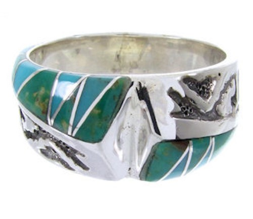 Turquoise Southwest Silver Ring Size 5-3/4 YS68262