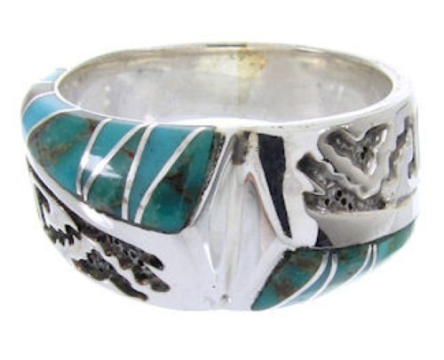 Southwest Sterling Silver Turquoise Jewelry Ring Size 6-3/4 YS68278