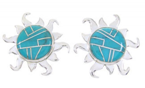 Southwest Turquoise Sterling Silver Sun Inlay Post Earrings AW68292
