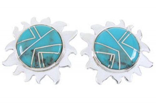 Turquoise Southwest Sterling Silver Sun Inlay Post Earrings AW68217