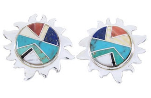 Southwest Silver Multicolor Turquoise Sun Jewelry Earrings AW68199