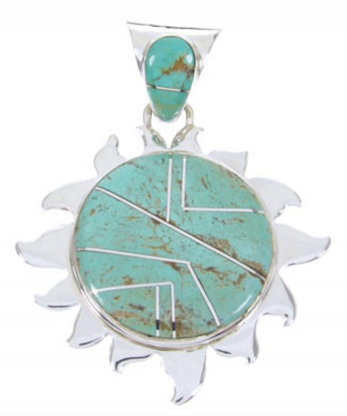 Turquoise Southwestern Sterling Silver Inlay Sun Pendant AW68177