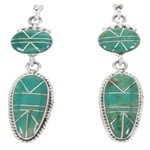 Southwest Jewelry Turquoise Sterling Silver Post Earrings AW68348