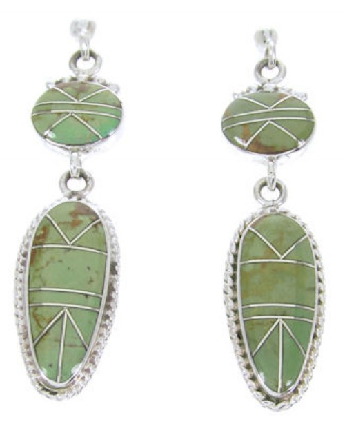 Southwest Turquoise Silver Inlay Jewelry Post Dangle Earrings AW68363