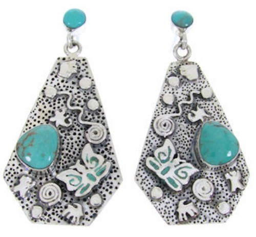 Southwest Turquoise Sterling Silver Butterfly Post Earrings AW68681