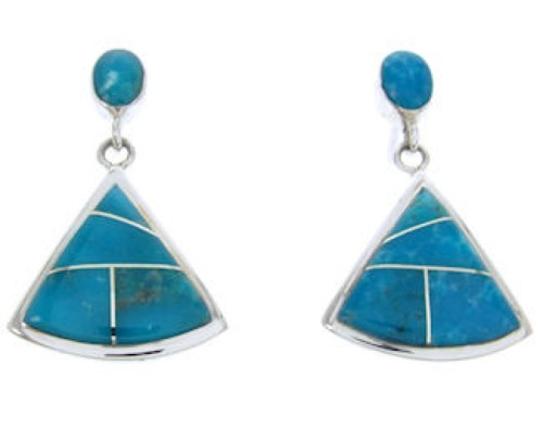 Turquoise Inlay Genuine Sterling Silver Post Earrings Jewelry AW68707