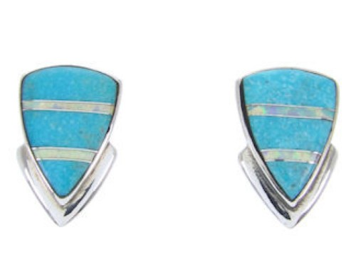 Sterling Silver Turquoise Opal Inlay Post Earrings AW68696