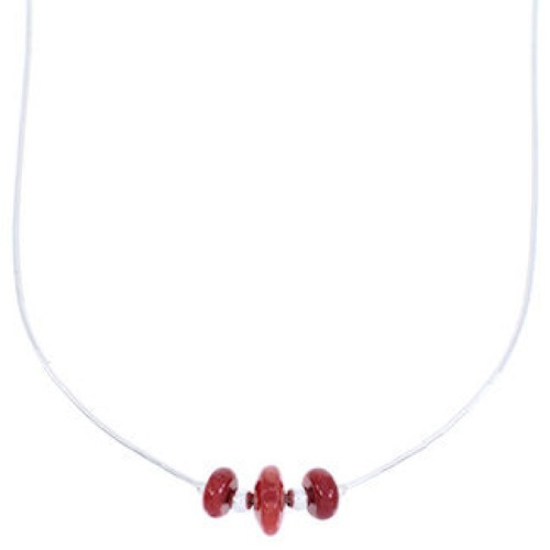 Liquid Sterling Silver Coral Jewelry Bead Necklace MW68792