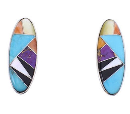Sterling Silver Multicolor Inlay Jewelry Post Earrings BW68940
