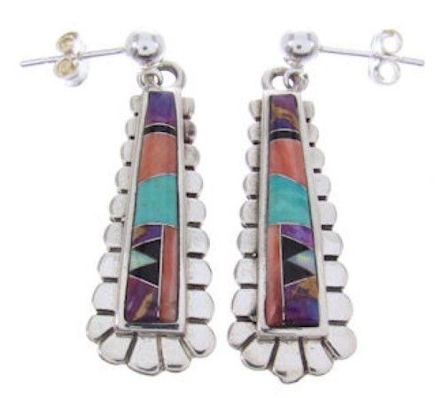 Sterling Silver Turquoise Multicolor Post Dangle Earrings AW69042