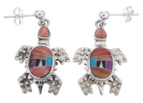 Multicolor Inlay Sterling Silver Turtle Post Dangle Earrings AW69070