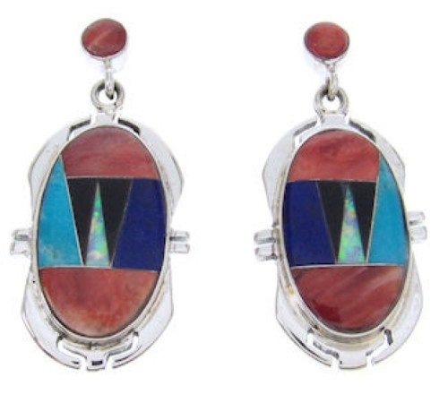 Red Oyster Shell Multicolor Sterling Silver Post Earrings AW69057