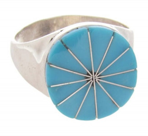 Turquoise American Indian Sterling Silver Ring Size 7-3/4 EX24557