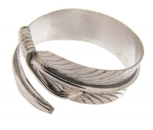 Navajo Indian Jewelry Feather Adjustable Ring Size 6 7 8 EX24630