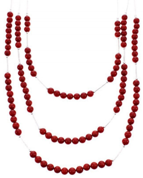 Coral Bead Jewelry Liquid Silver 3-Strand Necklace BW69195