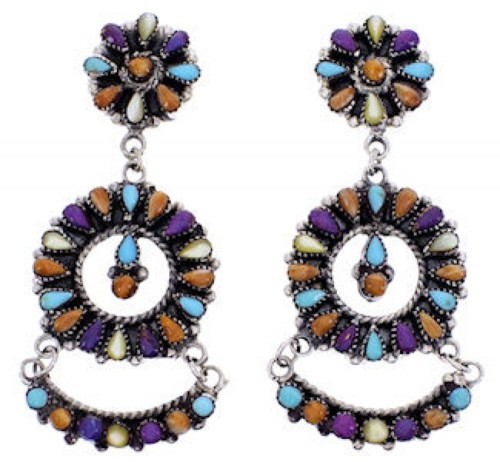 Sterling Silver Jewelry Multicolor Turquoise Post Earrings AW69398