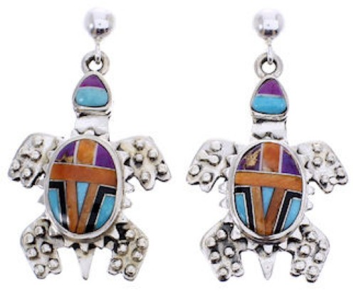 Silver Multicolor Inlay Turtle Post Dangle Earrings YS69283