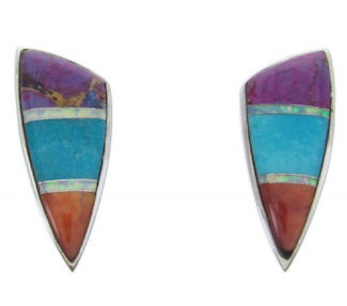 Genuine Sterling Silver and Multicolor Jewelry Post Earrings AW69849