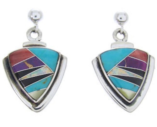 Sterling Silver Turquoise Multicolor Post Dangle Earrings BW69831