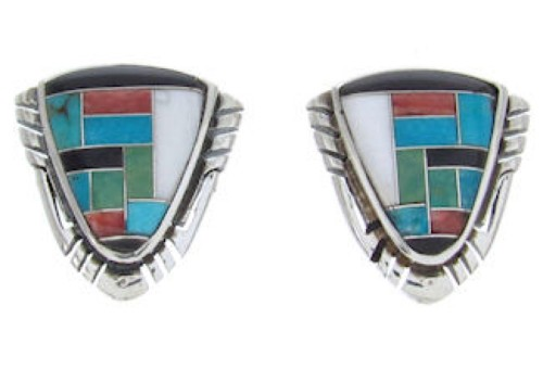 Sterling Silver Jewelry Multicolor Inlay Post Earrings BW69848