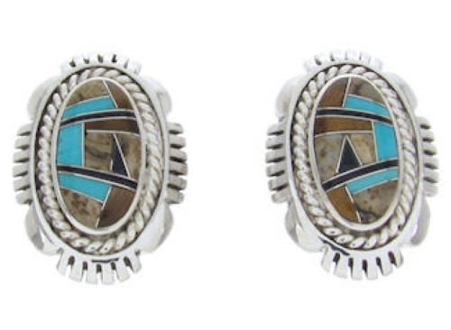 Turquoise Tiger Eye Multicolor Inlay Post Earrings BW69851