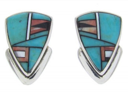 Turquoise Multicolor  Inlay Silver Post Earrings BW69863
