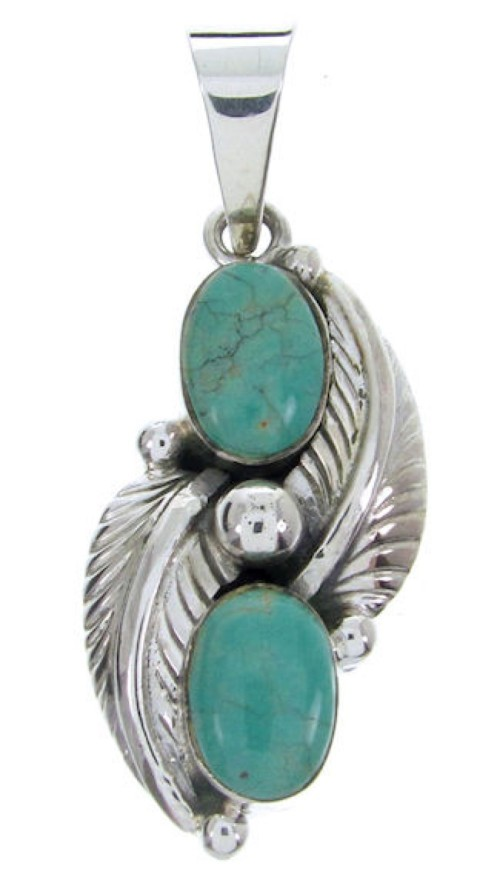 Turquoise Silver Jewelry Leaf Pendant BW69979