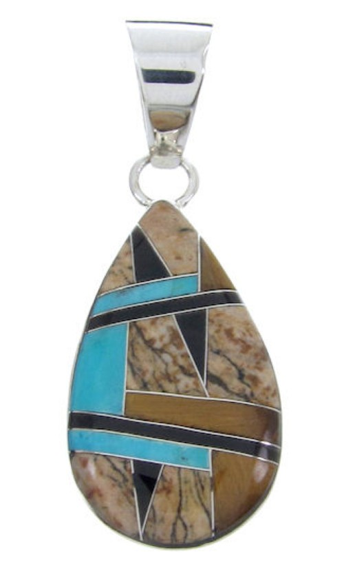 Sterling Silver Tiger Eye Multicolor Inlay Slide Pendant AW69996