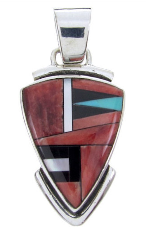 Red Oyster Shell Multicolor Sterling Silver Slide Pendant AW69906